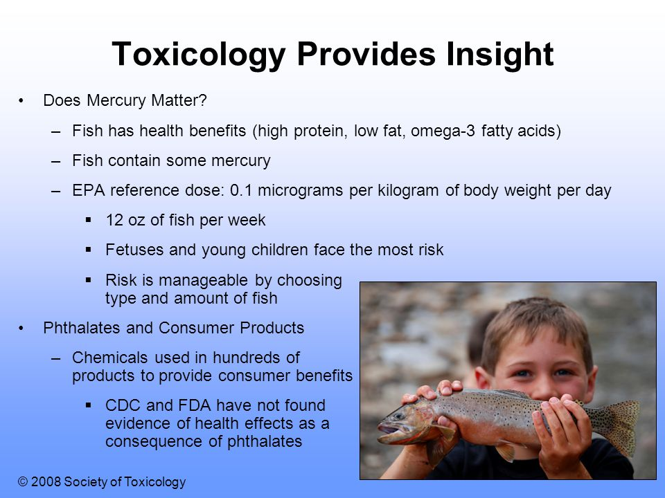 © 2008 Society of Toxicology Toxicology Provides Insight Does Mercury Matter? –Fish has health benefits (high protein, low fat, omega-3 fatty acids) –