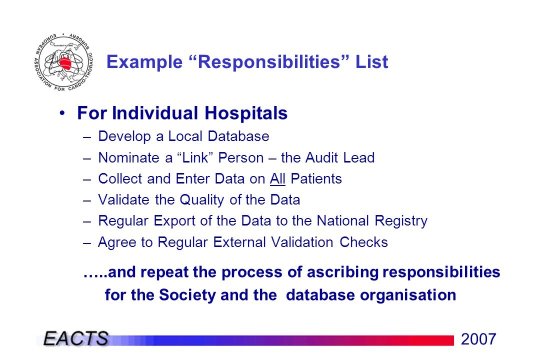 2007 For Individual Hospitals –Develop a Local Database –Nominate a Link Person – the Audit Lead –Collect and Enter Data on All Patients –Validate the Quality of the Data –Regular Export of the Data to the National Registry –Agree to Regular External Validation Checks …..and repeat the process of ascribing responsibilities for the Society and the database organisation Example Responsibilities List