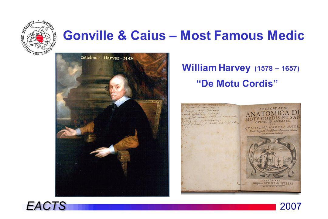 """2007 Gonville & Caius – Most Famous Medic William Harvey (1578 – 1657) """"De Motu Cordis"""""""