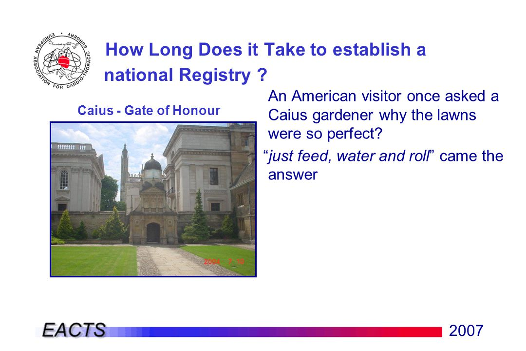 2007 An American visitor once asked a Caius gardener why the lawns were so perfect.