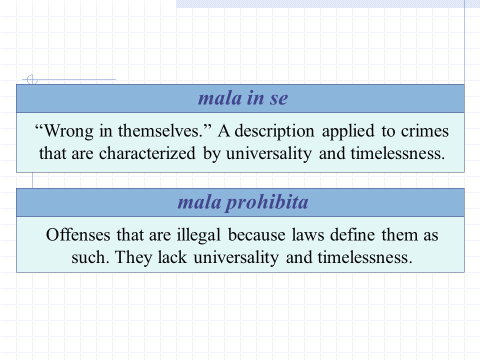 18 mala in se Wrong in themselves. A description applied to crimes that are characterized by universality and timelessness.