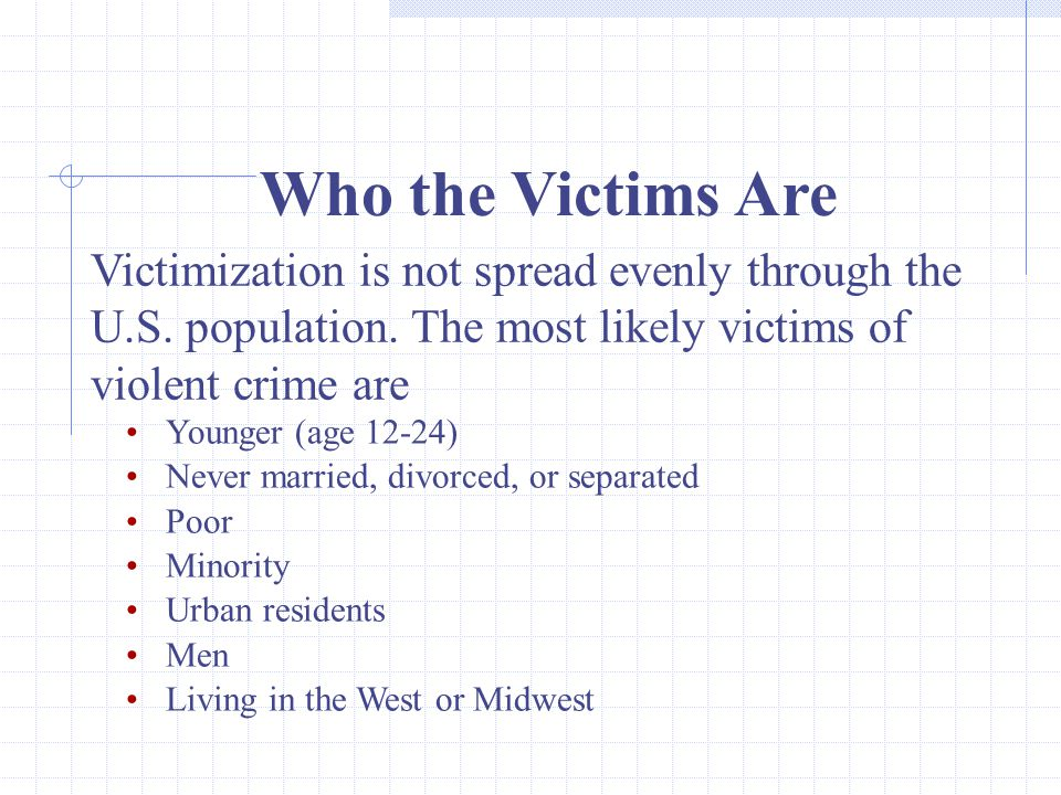 32 Who the Victims Are Victimization is not spread evenly through the U.S.