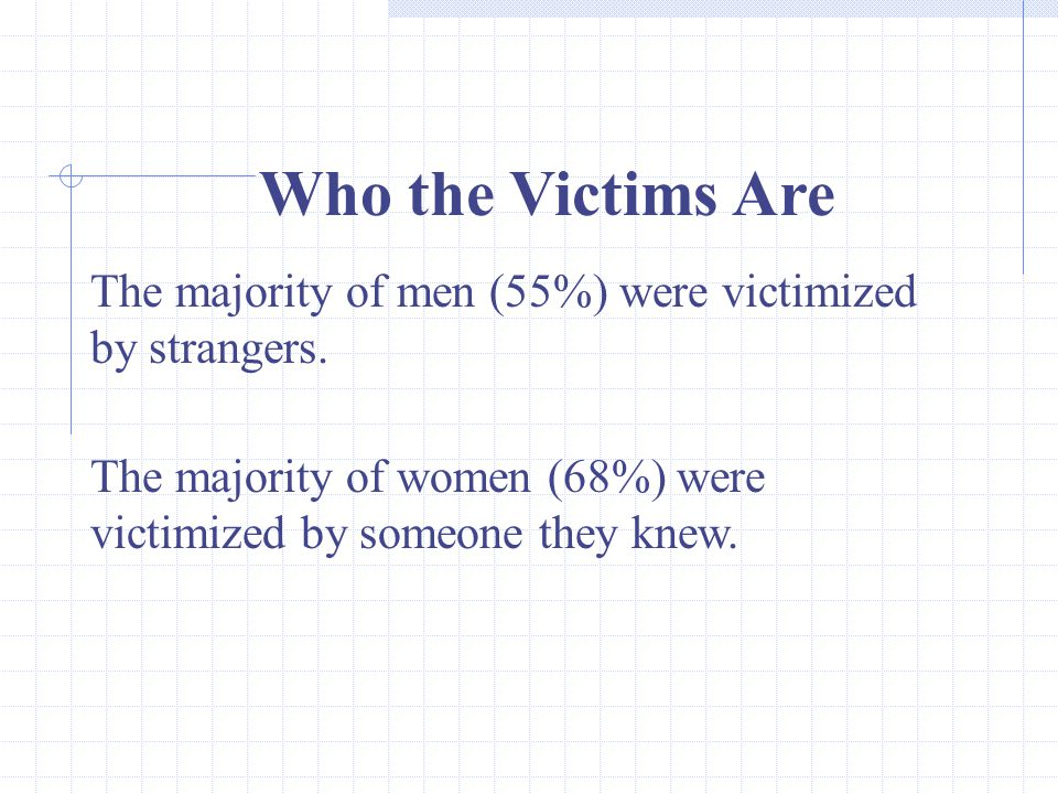 33 Who the Victims Are The majority of men (55%) were victimized by strangers.
