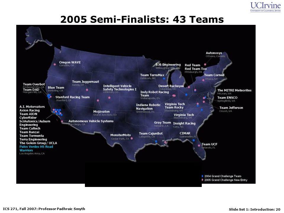 Slide Set 1: Introduction: 20 ICS 271, Fall 2007: Professor Padhraic Smyth 2005 Semi-Finalists: 43 Teams