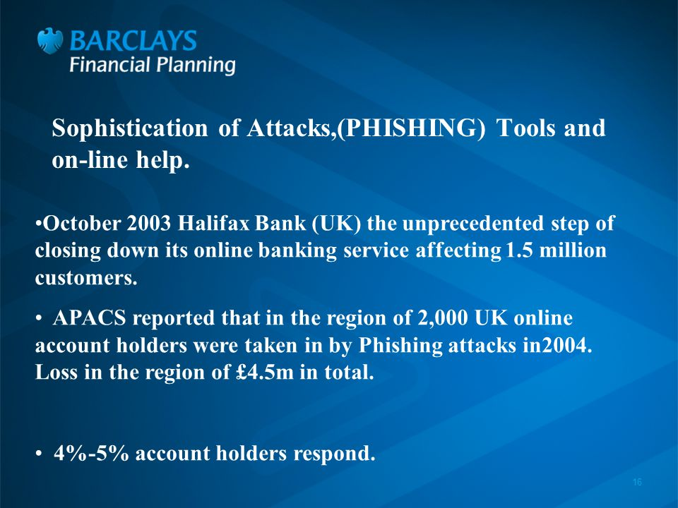 16 Sophistication of Attacks,(PHISHING) Tools and on-line help.