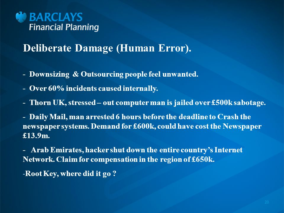 20 Deliberate Damage (Human Error). - Downsizing & Outsourcing people feel unwanted.