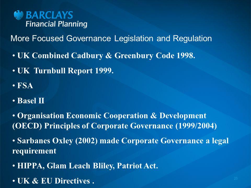 25 More Focused Governance Legislation and Regulation UK Combined Cadbury & Greenbury Code 1998.