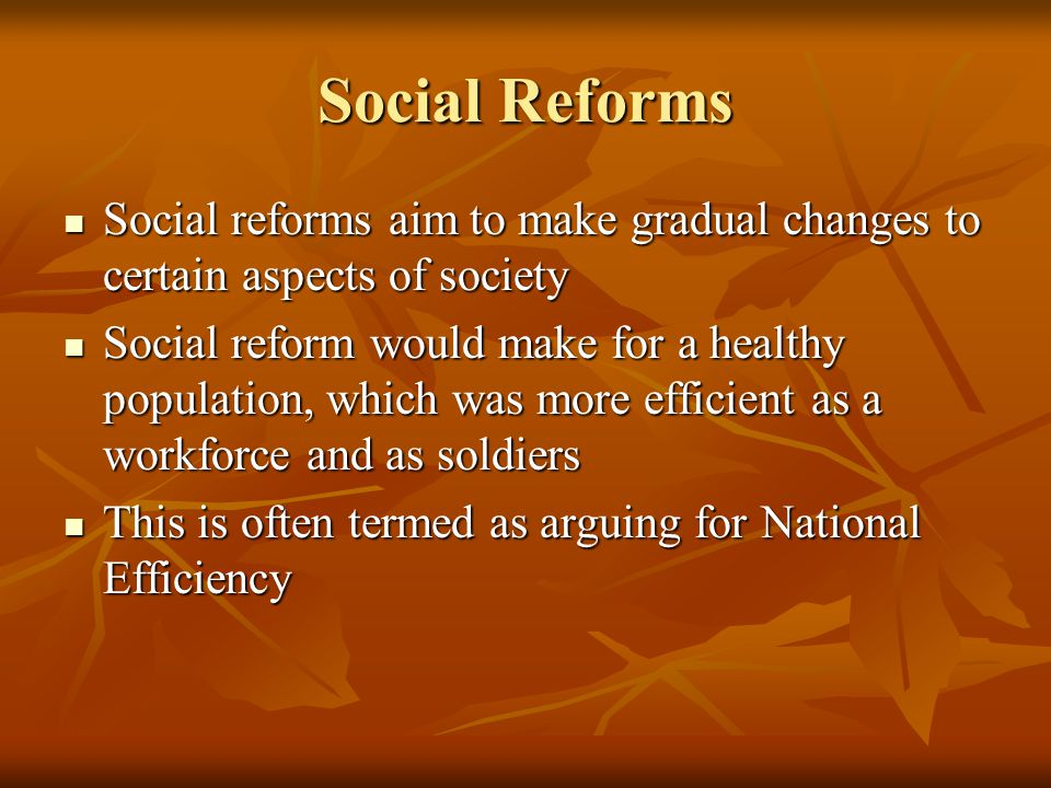 Social Reforms Social reforms aim to make gradual changes to certain aspects of society Social reforms aim to make gradual changes to certain aspects of society Social reform would make for a healthy population, which was more efficient as a workforce and as soldiers Social reform would make for a healthy population, which was more efficient as a workforce and as soldiers This is often termed as arguing for National Efficiency This is often termed as arguing for National Efficiency