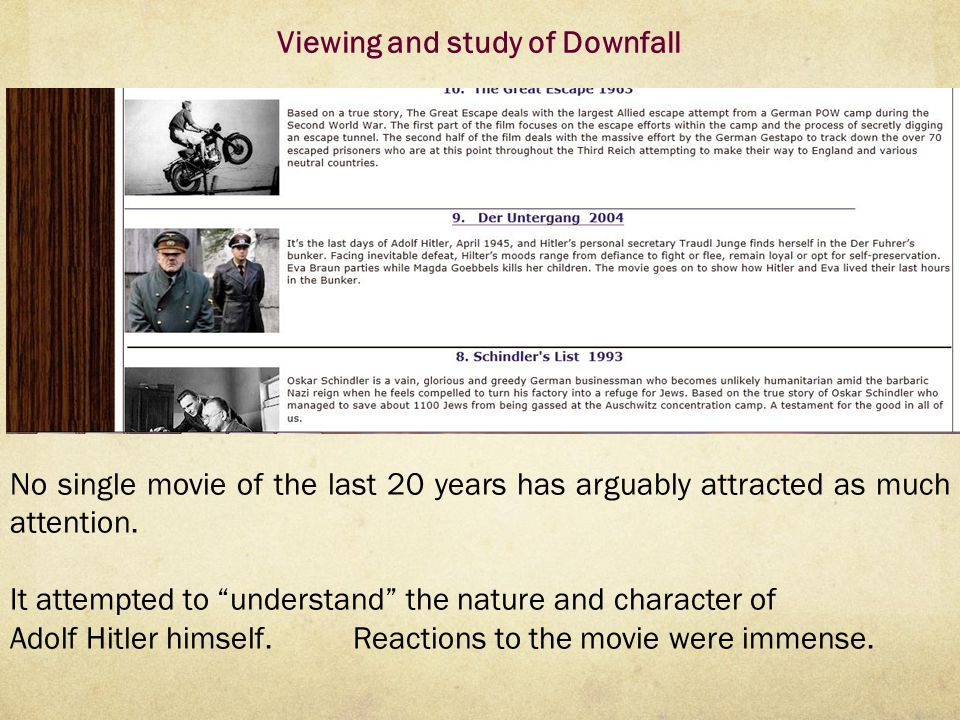Viewing and study of Downfall No single movie of the last 20 years has arguably attracted as much attention.