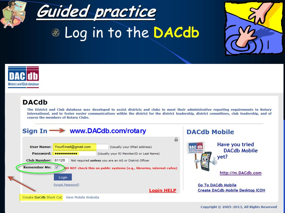 Guided practice Log in to the DACdb