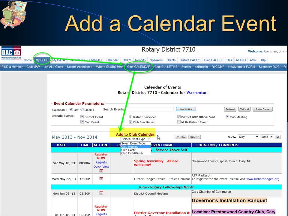 Add a Calendar Event