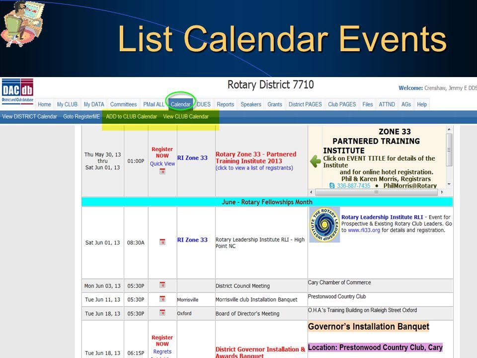 List Calendar Events