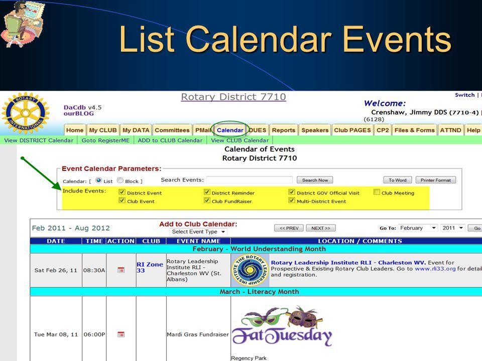 53 List Calendar Events