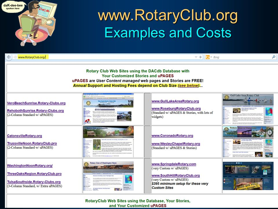 www.RotaryClub.org Examples and Costs SERVICE Above Self