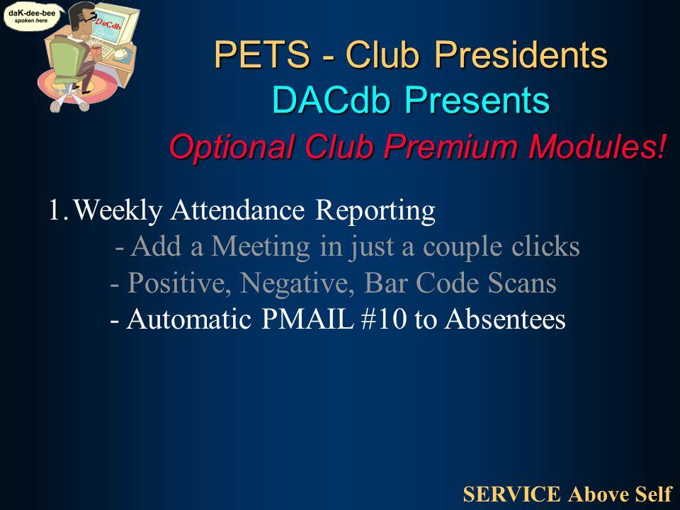 PETS - Club Presidents DACdb Presents Optional Club Premium Modules.