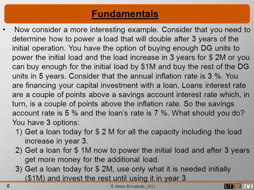 6 © Alexis Kwasinski, 2012 Fundamentals Now consider a more interesting example. Consider that you need to determine how to power a load that will dou