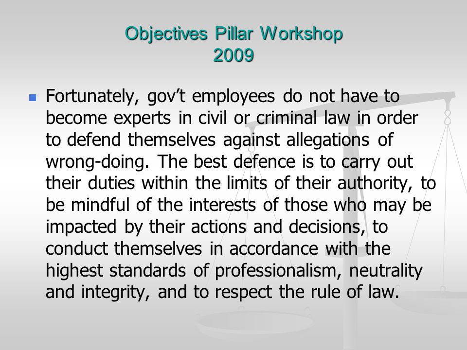 Objectives Pillar Workshop 2009 Fortunately, gov't employees do not have to become experts in civil or criminal law in order to defend themselves against allegations of wrong-doing.