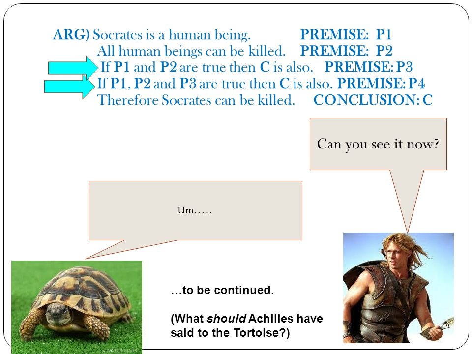 ARG) Socrates is a human being. PREMISE: P1 All human beings can be killed. PREMISE: P2 If P1 and P2 are true then C is also. PREMISE: P3 If P1, P2 an