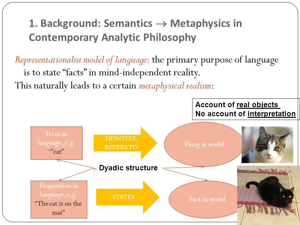 1. Background: Semantics  Metaphysics in Contemporary Analytic Philosophy Representationalist model of language: the primary purpose of language is t