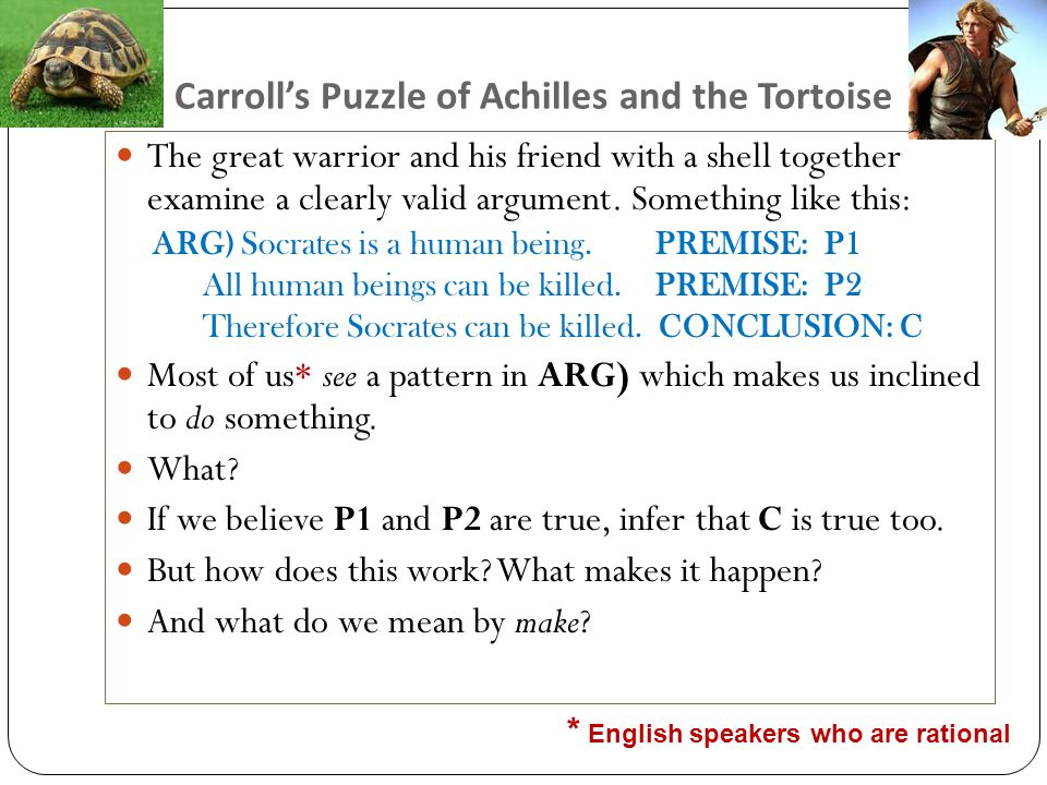 Carroll's Puzzle of Achilles and the Tortoise The great warrior and his friend with a shell together examine a clearly valid argument.