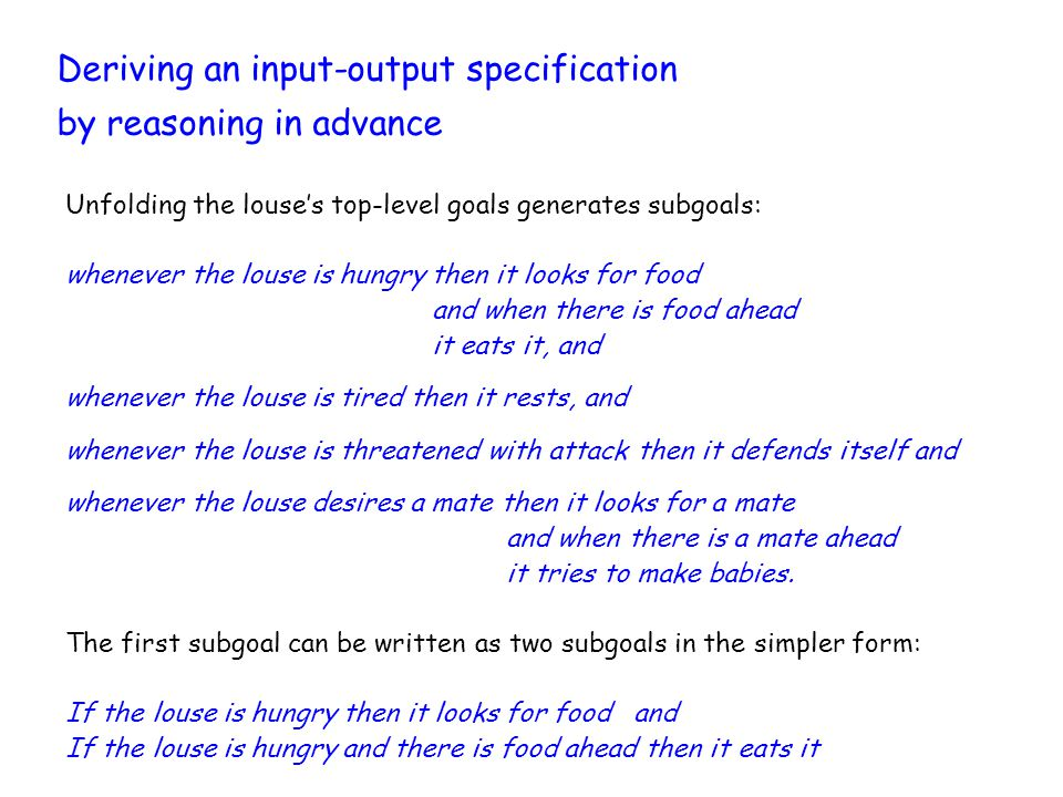 Deriving an input-output specification by reasoning in advance Unfolding the louse's top-level goals generates subgoals: whenever the louse is hungry then it looks for food and when there is food ahead it eats it, and whenever the louse is tired then it rests, and whenever the louse is threatened with attack then it defends itself and whenever the louse desires a mate then it looks for a mate and when there is a mate ahead it tries to make babies.