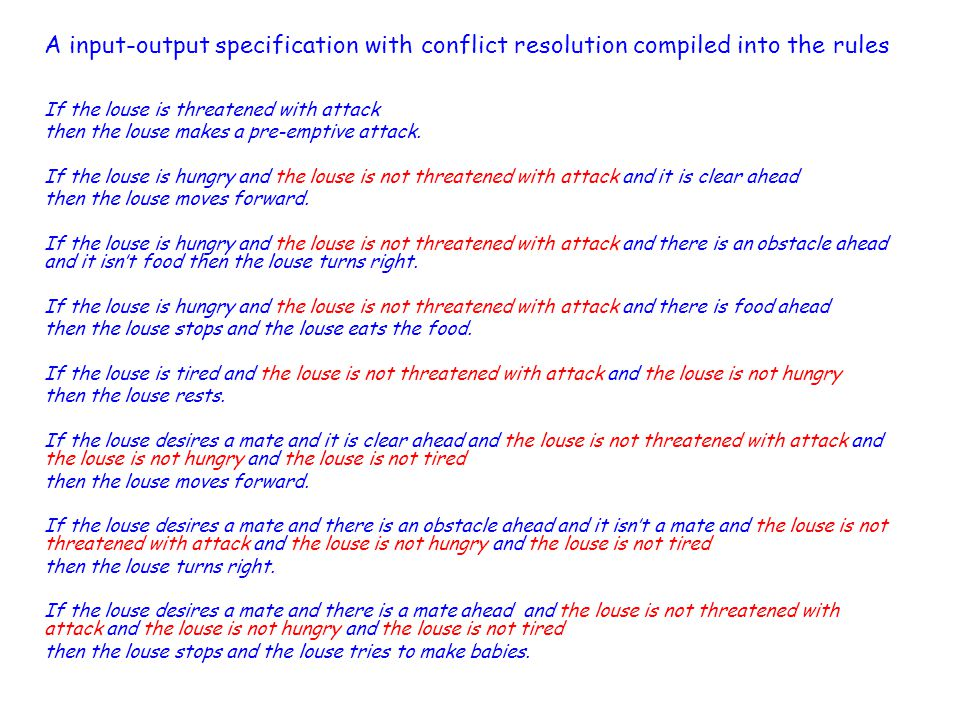A input-output specification with conflict resolution compiled into the rules If the louse is threatened with attack then the louse makes a pre-emptive attack.