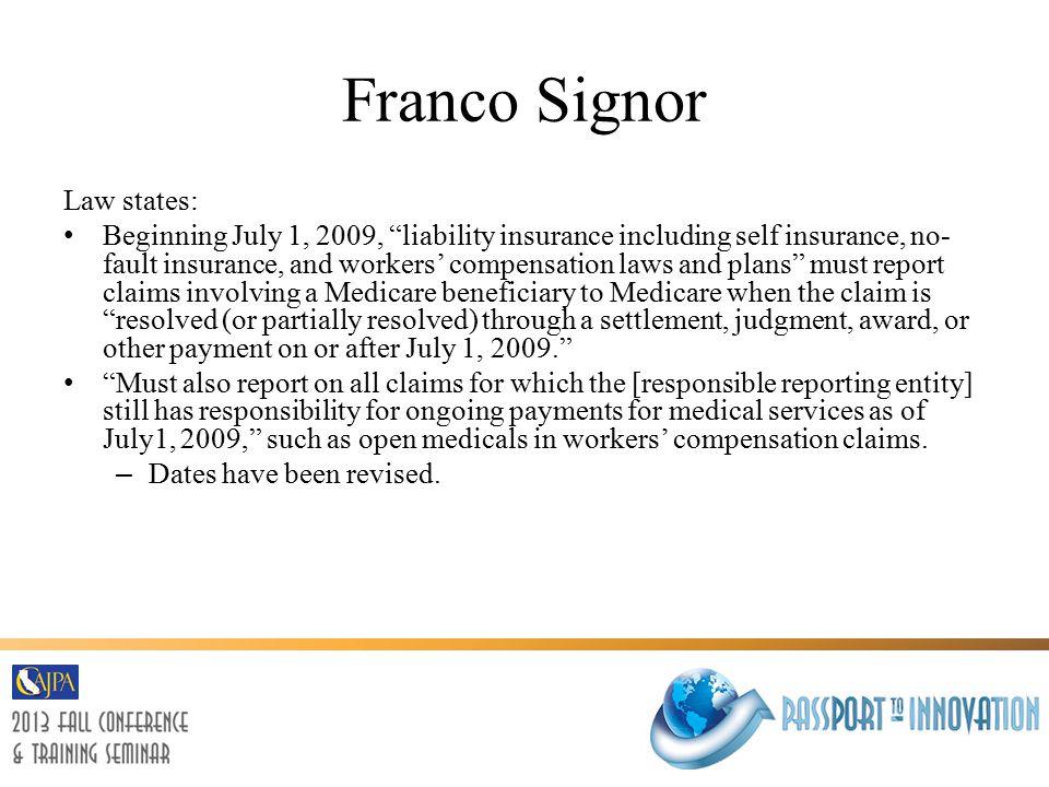 Franco Signor Questions?
