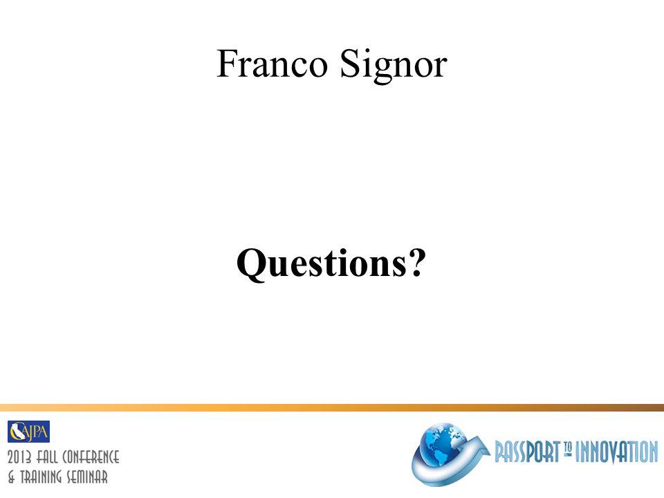 Franco Signor Questions