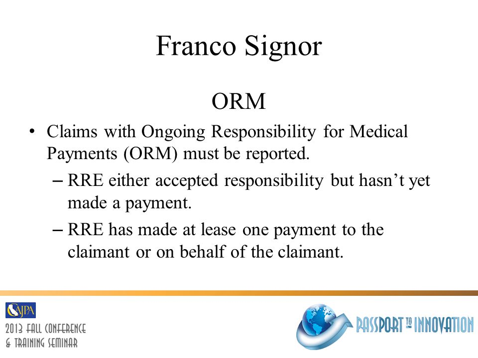 Franco Signor Total Payment Obligation to the Claimant (TPOC) Defined as a one-time payment, as in a settlement, judgment, award, or other payment as intended to resolve/partially resolve a claim.