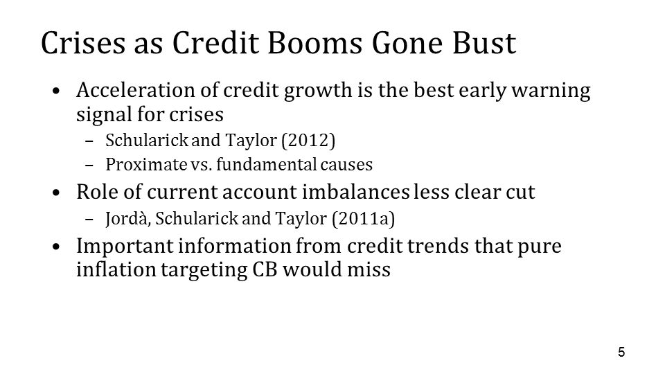 Crises as Credit Booms Gone Bust Acceleration of credit growth is the best early warning signal for crises –Schularick and Taylor (2012) –Proximate vs.