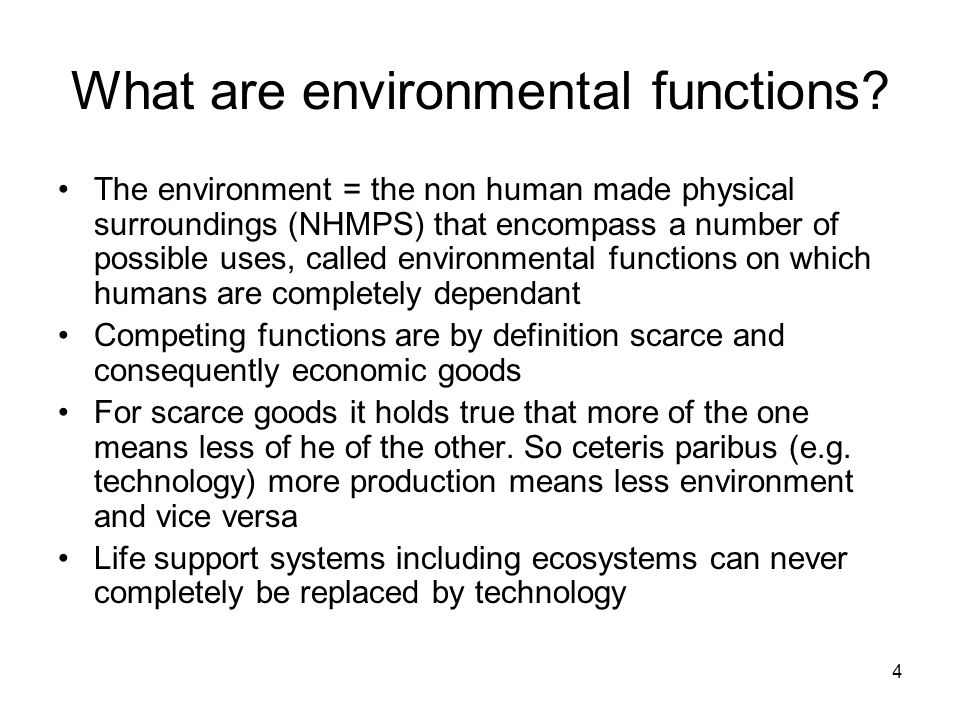 What are environmental functions? The environment = the non human made physical surroundings (NHMPS) that encompass a number of possible uses, called