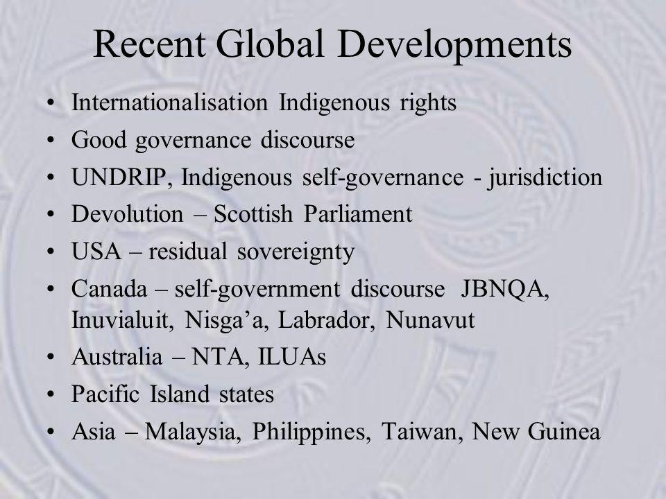 Recent Global Developments Internationalisation Indigenous rights Good governance discourse UNDRIP, Indigenous self-governance - jurisdiction Devoluti