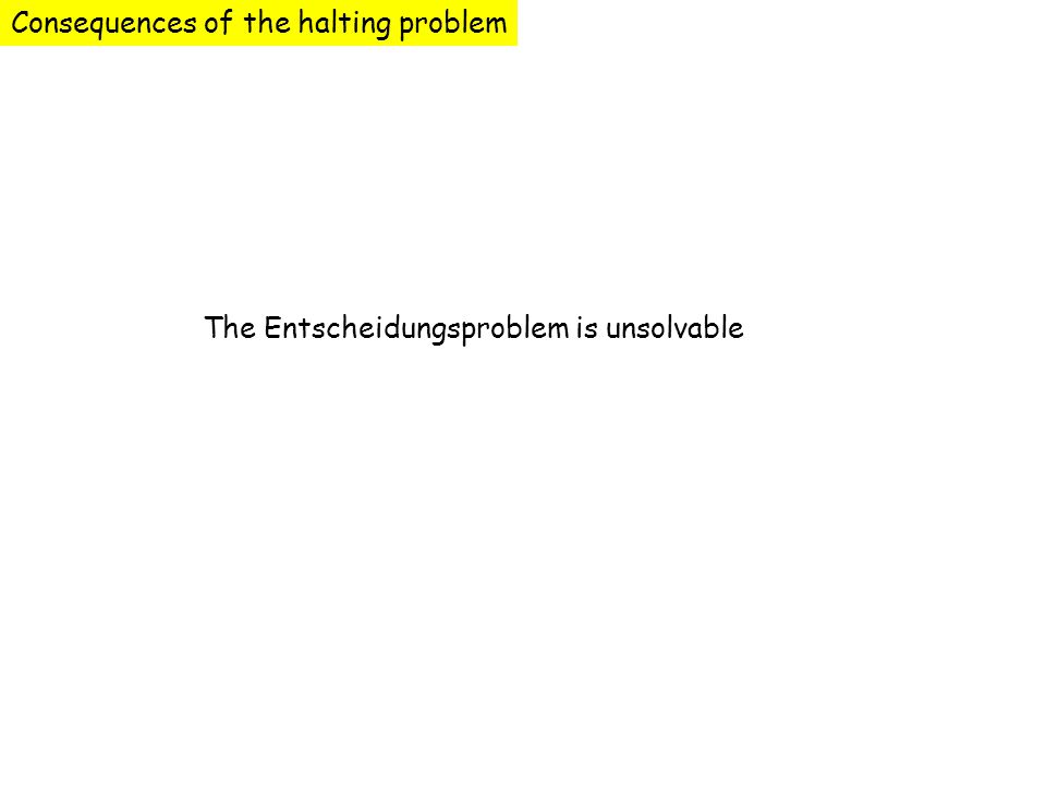 Consequences of the halting problem The Entscheidungsproblem is unsolvable