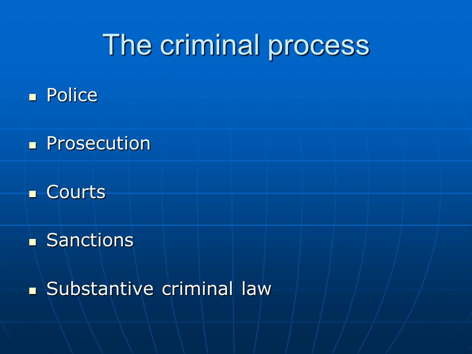 The criminal process Police Police Prosecution Prosecution Courts Courts Sanctions Sanctions Substantive criminal law Substantive criminal law