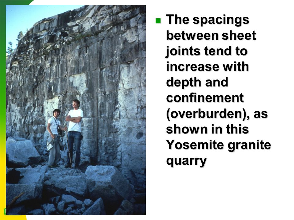 The spacings between sheet joints tend to increase with depth and confinement (overburden), as shown in this Yosemite granite quarry The spacings between sheet joints tend to increase with depth and confinement (overburden), as shown in this Yosemite granite quarry