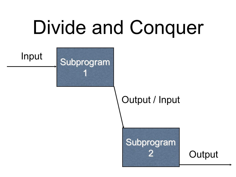 Divide and Conquer Subprogram 1 Input Output Subprogram 2 Output / Input