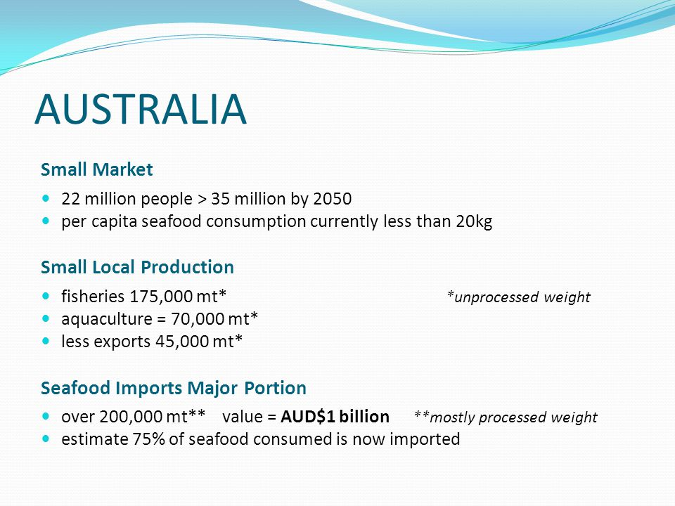 AUSTRALIA Small Market 22 million people > 35 million by 2050 per capita seafood consumption currently less than 20kg Small Local Production fisheries 175,000 mt* *unprocessed weight aquaculture = 70,000 mt* less exports 45,000 mt* Seafood Imports Major Portion over 200,000 mt** value = AUD$1 billion **mostly processed weight estimate 75% of seafood consumed is now imported