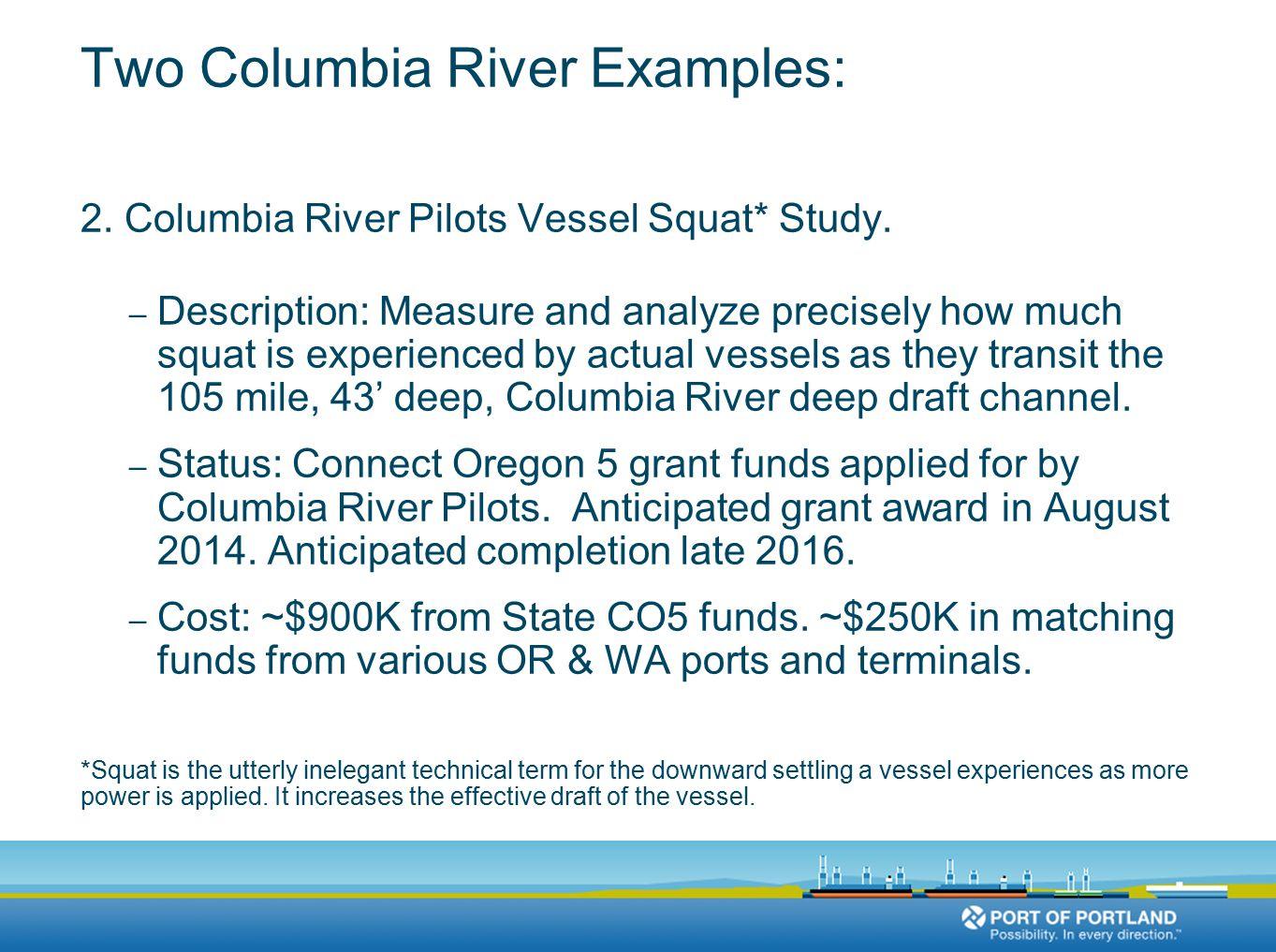Two Columbia River Examples: 2. Columbia River Pilots Vessel Squat* Study.