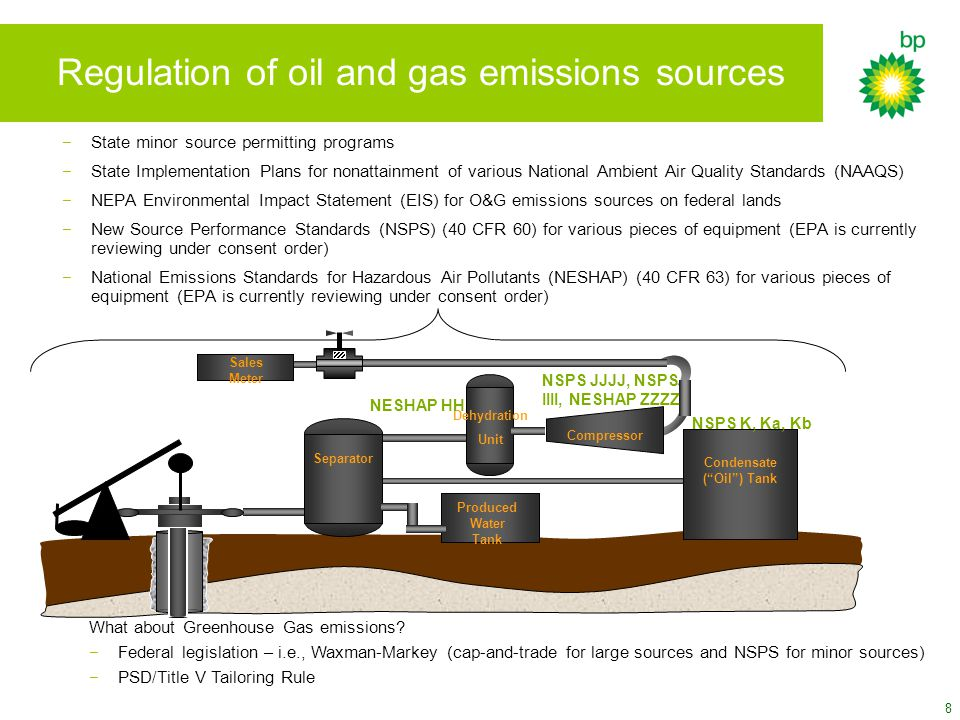 8 Regulation of oil and gas emissions sources Separator Produced Water Tank Sales Meter Condensate ( Oil ) Tank Compressor Dehydration Unit NSPS K, Ka, Kb NESHAP HH NSPS JJJJ, NSPS IIII, NESHAP ZZZZ −State minor source permitting programs −State Implementation Plans for nonattainment of various National Ambient Air Quality Standards (NAAQS) −NEPA Environmental Impact Statement (EIS) for O&G emissions sources on federal lands −New Source Performance Standards (NSPS) (40 CFR 60) for various pieces of equipment (EPA is currently reviewing under consent order) −National Emissions Standards for Hazardous Air Pollutants (NESHAP) (40 CFR 63) for various pieces of equipment (EPA is currently reviewing under consent order) What about Greenhouse Gas emissions.