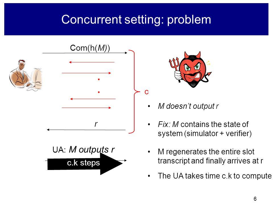 6 Concurrent setting: problem Com(h(M)) r....