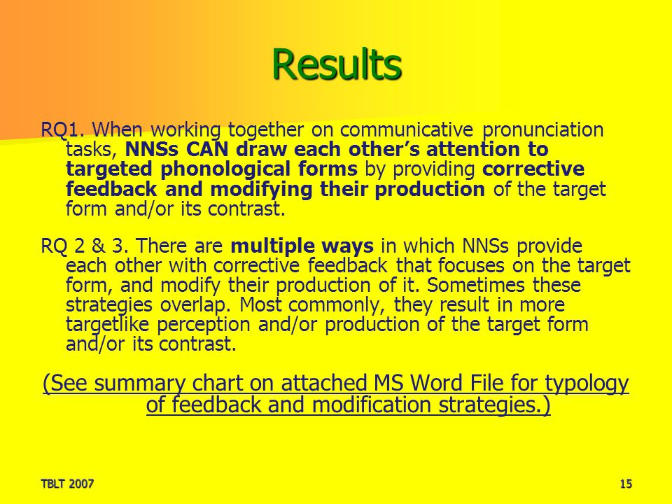 TBLT 200715 Results RQ1. When working together on communicative pronunciation tasks, NNSs CAN draw each other's attention to targeted phonological for