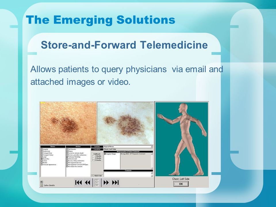 The Emerging Solutions Store-and-Forward Telemedicine Allows patients to query physicians via email and attached images or video.
