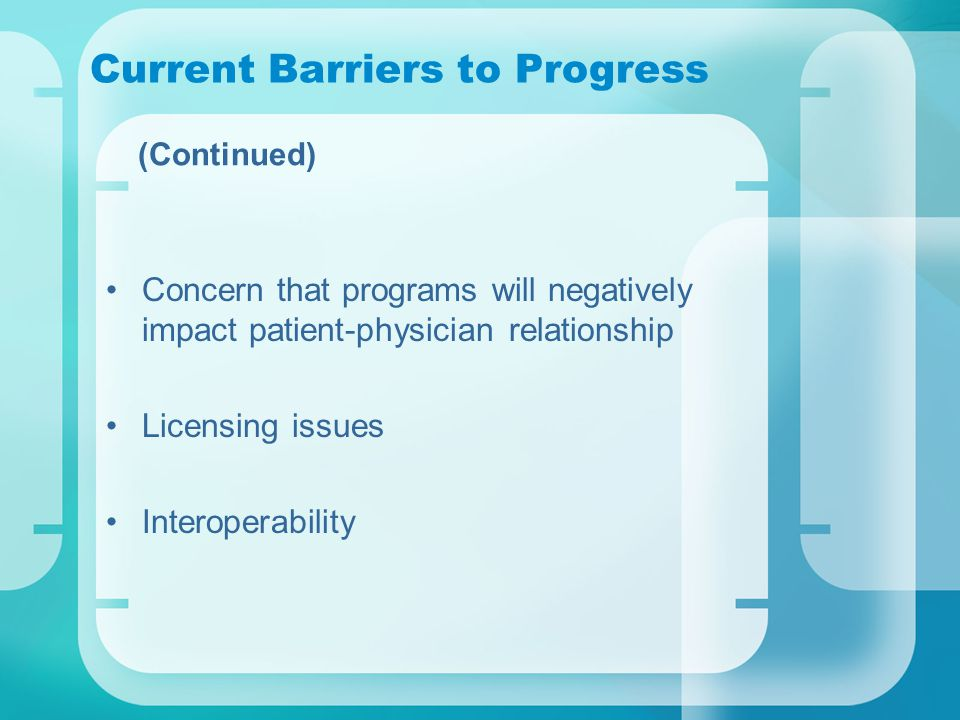 Current Barriers to Progress (Continued) Concern that programs will negatively impact patient-physician relationship Licensing issues Interoperability