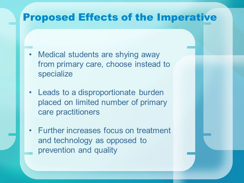 Proposed Effects of the Imperative Medical students are shying away from primary care, choose instead to specialize Leads to a disproportionate burden placed on limited number of primary care practitioners Further increases focus on treatment and technology as opposed to prevention and quality