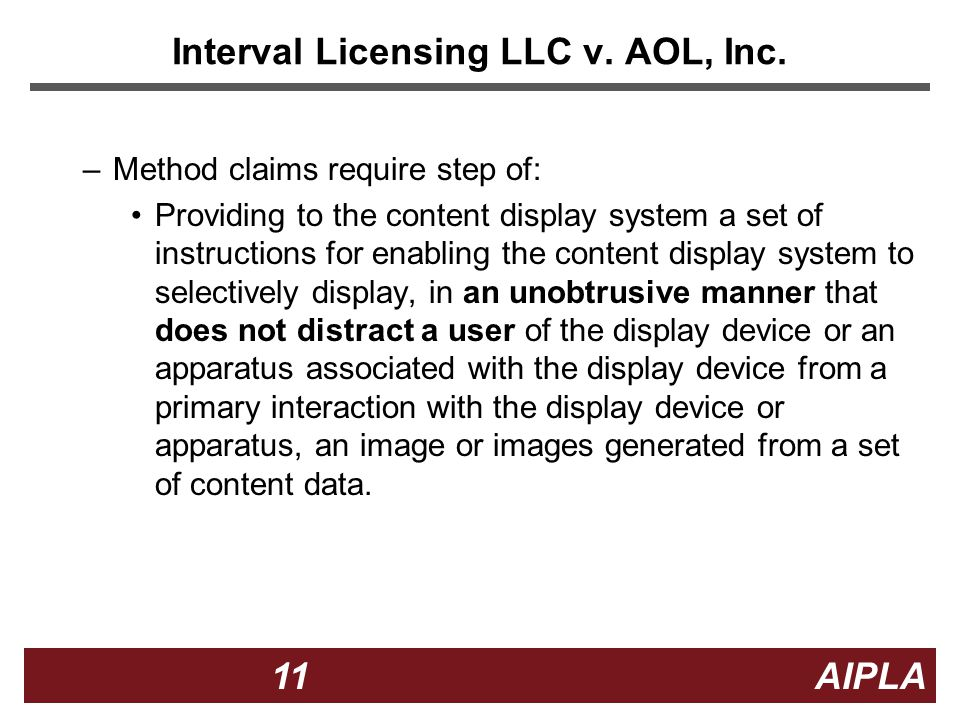 11 11 AIPLA Interval Licensing LLC v. AOL, Inc.