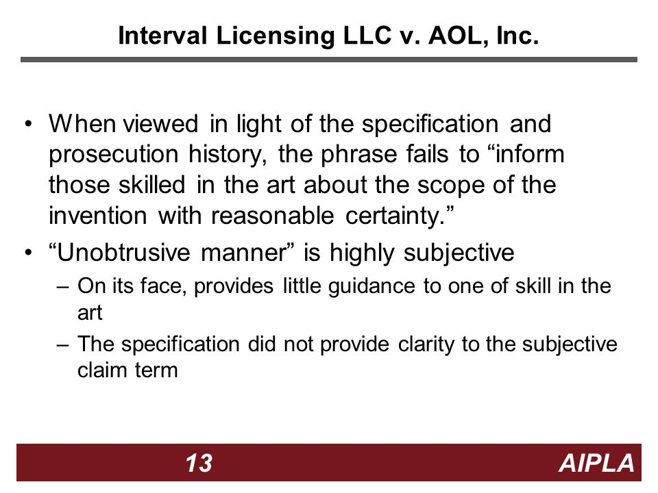 13 13 AIPLA Interval Licensing LLC v. AOL, Inc.