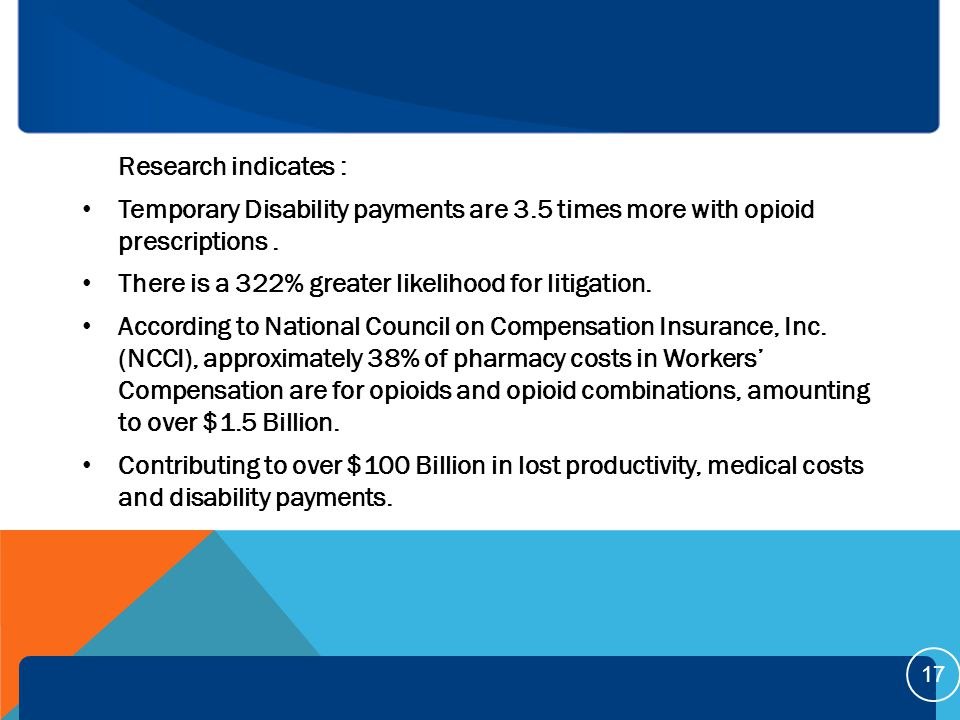 Research indicates : Temporary Disability payments are 3.5 times more with opioid prescriptions.