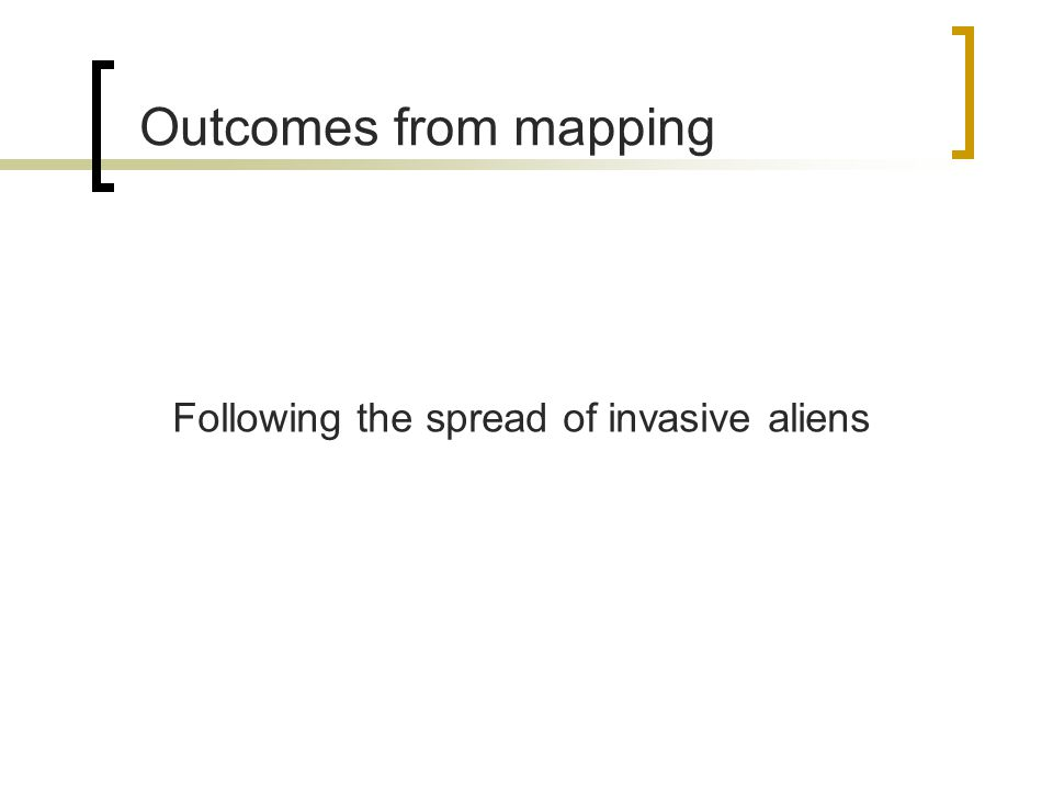 Outcomes from mapping Following the spread of invasive aliens