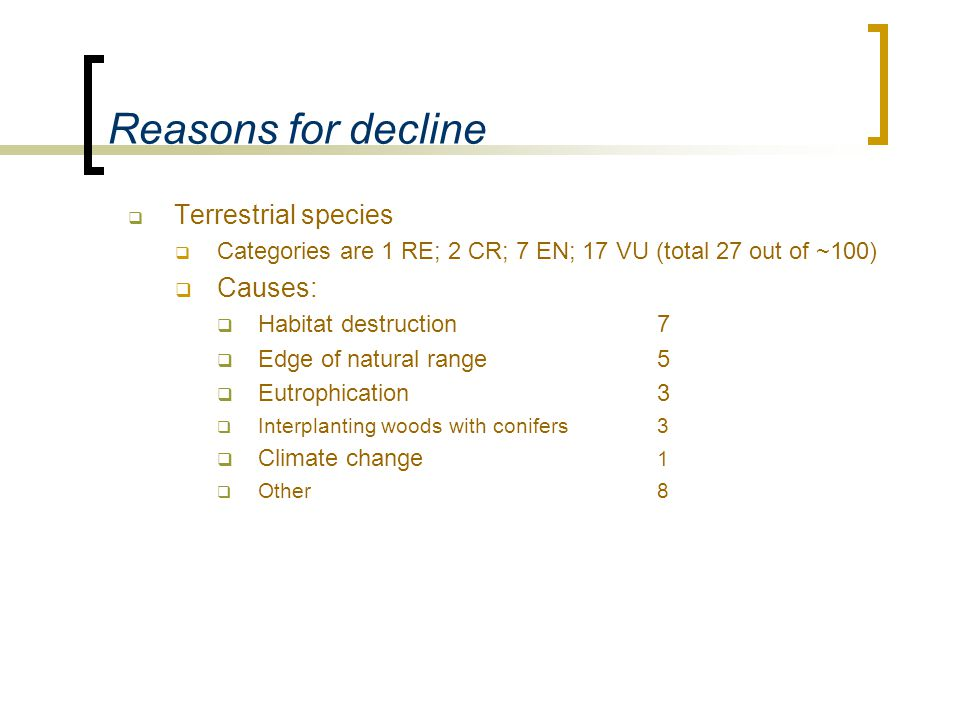 Reasons for decline  Terrestrial species  Categories are 1 RE; 2 CR; 7 EN; 17 VU (total 27 out of ~100)  Causes:  Habitat destruction 7  Edge of natural range 5  Eutrophication3  Interplanting woods with conifers3  Climate change 1  Other8