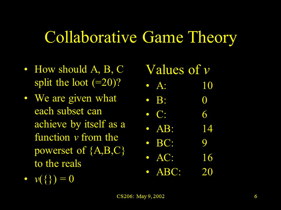 CS206: May 9, 20026 Collaborative Game Theory How should A, B, C split the loot (=20).